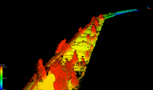3D point cloud with height color map in Lidar360 software (by Rekon)