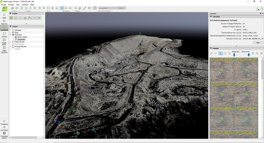 Screen shot of photogammetry produced point cloud filtered down to ground points only