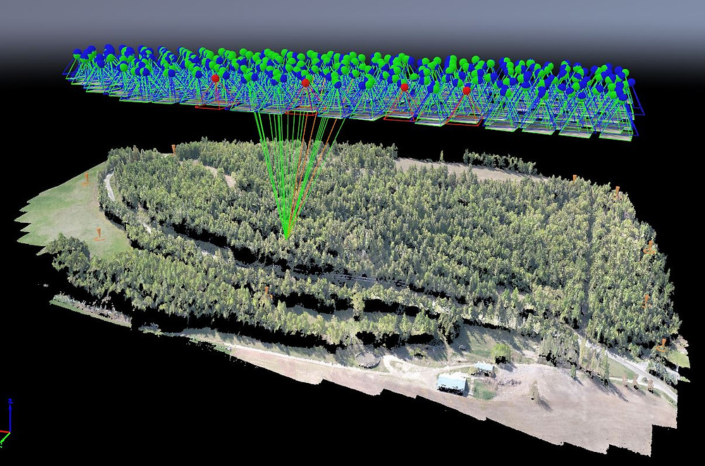 Photogrammetry map showing photos over mapping area