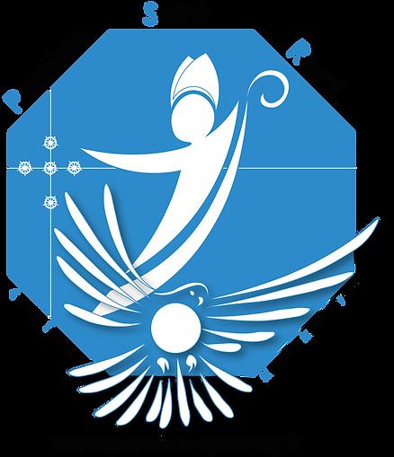Logo de la paroisse, Evêque Saint Remi et colombe du Saint Esprit, blanc sur fond bleu
