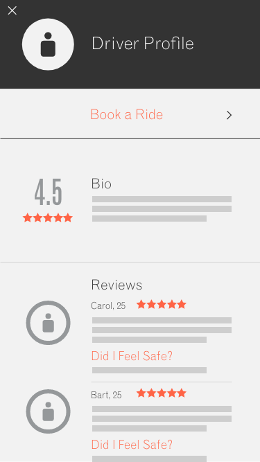 Driver Profile - Book Ride
