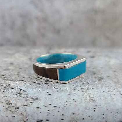 sterling, turquoise, rosewood ring size 7.5