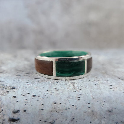 malachite, rosewood, silver ring size 8.25