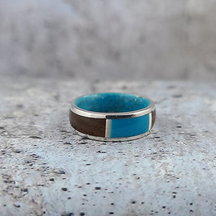 sterling, turquoise, rosewood ring size 6