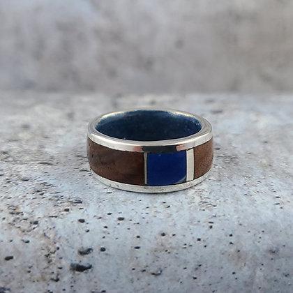 lapis, sterling, walnut ring size 8