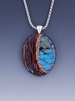 large labradorite oval pendant