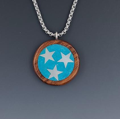 tri-star TN pendant turquoise- medium