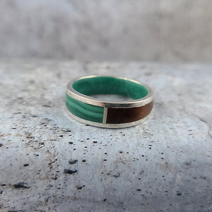 sterling malachite, rosewood ring size 12