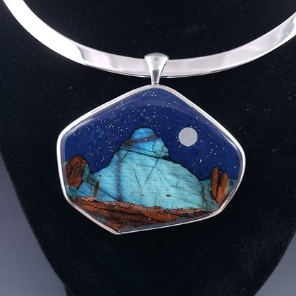 Labradorite moonscape 2 sided sterling piece