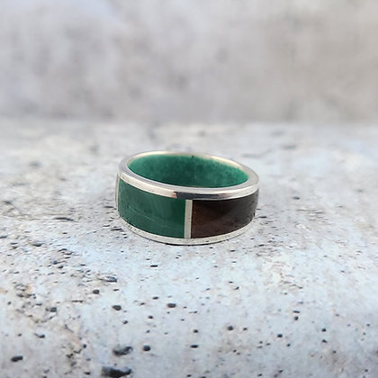 sterling, malachite, rosewood ring size 5