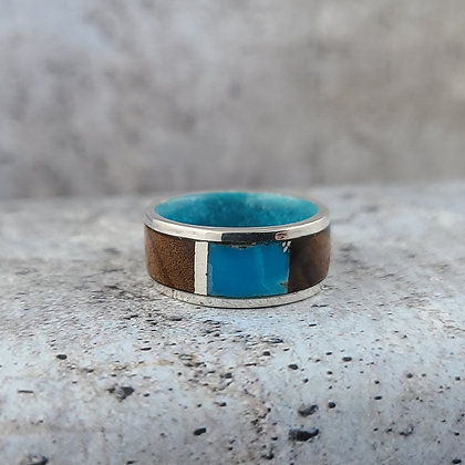 sterling, turquoise, laurel wood ring size 8.5