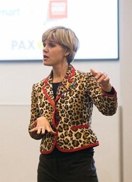 Jackie Vanderbrug, an SVP at US Trust, speaking on gender lens investing at Power Shift.