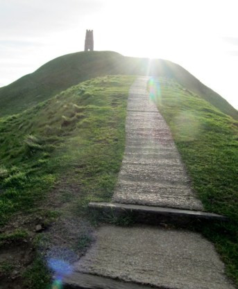 I took this photo of the walk up the Tor myself. It is quite a climb.
