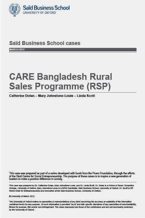 CARE Bangladesh Rural Sales Programme (RSP) Teaching Case