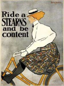 One of the most important product innovations for women was the bicycle. Posters like this were definitely intended to sell bicycles, but the product itself had a positive impact on the lives of women.