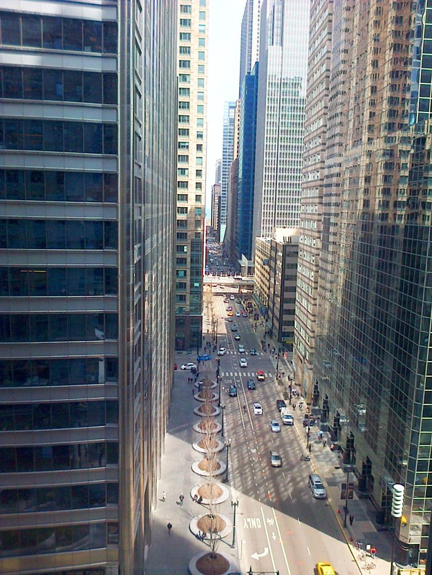 Are you jealous?  This is the view from TechNexus in downtown Chicago.  If you look closely, you can see the lake at the end of this spectacular canyon.