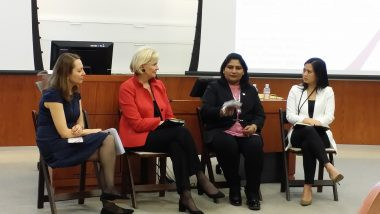 "Power Shift 2016 panel ""Leading Around the Barriers"", showcasing pioneering initiatives creating new access to capital for women. On the panel, from the left: Sevi Sima (moderator), Loretta McCarthy, Naila Chowdhury, Tricia Cuna Weaver."