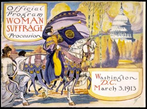 In both the UK and the US, the suffrage activists planned each appearance with a nod to drama, beauty, and press-worthiness. There were beautiful programs like this one, as well as color themes for each march. Indeed, there were also hunger strikes and women chained to fences. But even these were designed to call attention to the movement. Importantly, even at the time of the suffragists, the women's movement had renamed itself, as it would do twice more by the end of the 20th century.