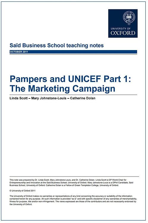 Pampers and UNICEF Teaching Note Part 1: The Marketing Campaign