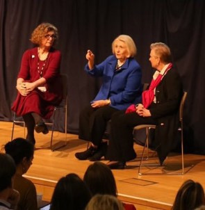 At the final planning session, Melanne Verveer (middle) and Ann Cairns (right) talk with the audience about how Power Shift should unfold in Washington DC this spring. Melanne was the first Ambassador-at-Large for Women's Issues and is now Executive Director of the Women, Peace, and Security Institute at Georgetown University. Ann is the President of International Markets at MasterCard Worldwide.