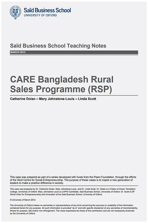 CARE Bangladesh Rural Sales Programme (RSP) Teaching Note