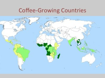 This map shows the belt of countries where the world's coffee is produced. Note that the path crosses cultures from Latin America to South Asia. But the conditions for the women were the same right through the regions: they were clustered at the bottom, doing the world for little or no money, seldom allowed to leave, and threatened always by violence.
