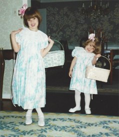 As a mom, my favorite part of Easter was getting the girls their dresses, shoes, socks, hair bows, and shoes.  Was I playing with them like dolls?  Well, yes.  Sorry.  You can see that they learned to pose for the camera.  Liza (right) wasn't as good at it yet.  Later, she was a master of the photo opp.  Still is.