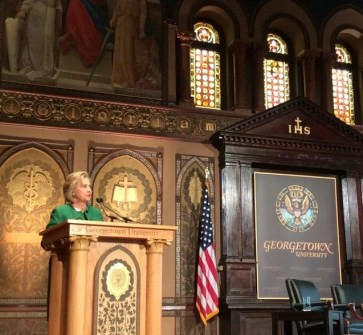 Former Secretary of State Hillary Clinton speaking on behalf of women worldwide at Georgetown University last week.  Gaston Hall was packed and enthusiastic--I felt like I had stepped into a rock concert.