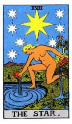 In the Tarot, the Star card refers to an individual's mission in life, the reason that the universe has caused that particular soul to exist. The Star points to our potential to create the divine, even in our day-to-day lives. It is a marker of our place in the cosmos and our contract with destiny.