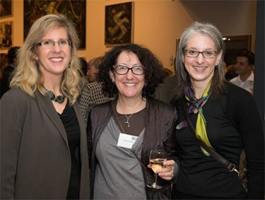 Author Sarah Kaplan, a business professor at University of Toronto, with two other gender impact investment enthusiasts, Laurie Spengler (Enclude) and Suzanne Biegel (Clearly So), at the opening reception for Power Shift 2014.