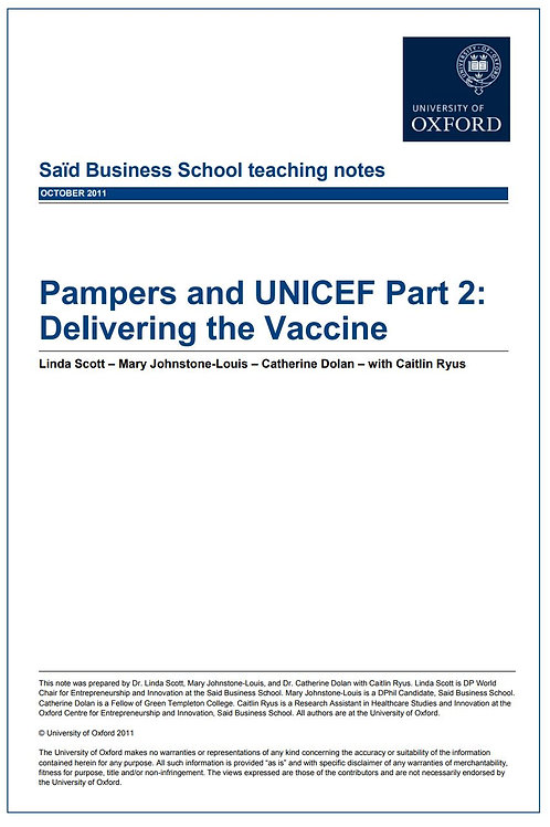 Pampers and UNICEF Teaching Note Part 2: Delivering the Vaccine