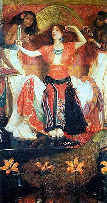 In John Liston Byam Shaw's version of Jezebel, the focus is, predictably, on her toilet (thus telegraphing her vain corruption), rather than her power as a leader, especially of religion, which is what really galled the Hebrews about her.