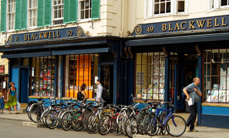 The original Blackwell's, on the Broad Street in Oxford, looks tiny and ancient, but is massive and modern inside.  There are special shops for music and art books across the road.
