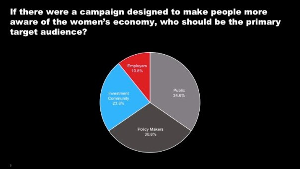 The general public got the most votes for intended target audience, but was closely followed by policy makers. Click to make pie chart larger.