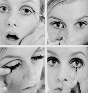 """The magazines of my era had """"how to"""" pages on Twiggy's false eyelash look.  I perfected this technique and wore those awful things for about six years.  Every day.  Upper and lower lashes.  I am not kidding."""
