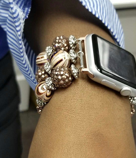 """Cream and Brown Sugar"" smart watch band"