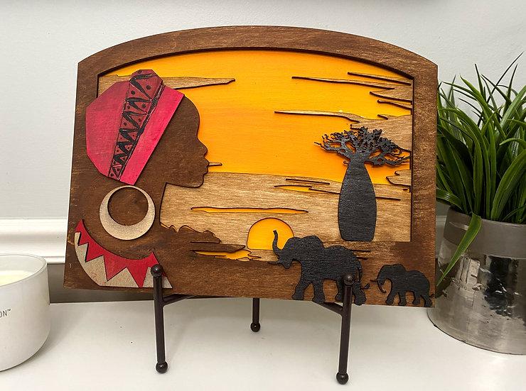 African Skyline Wooden Art Piece