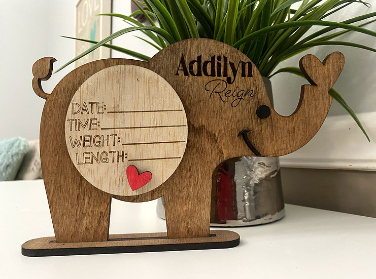 Wooden Elephant Baby Announcement