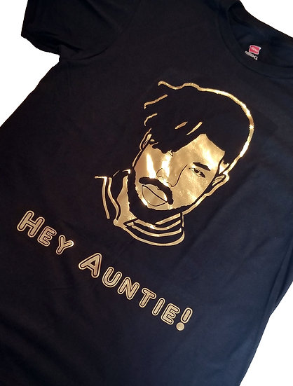 """Hey Auntie"" / Killmonger from Black Panther / Black and Gold Shirt"