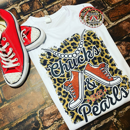 Chucks and Pearls Animal Print Tee