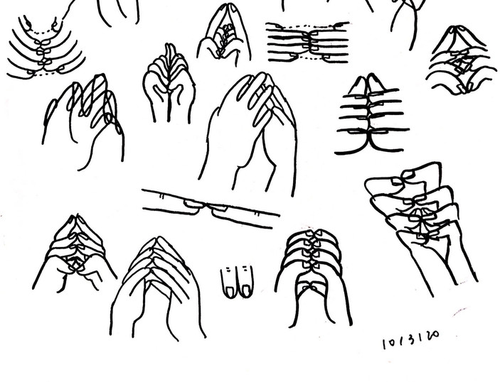 a study on the touching of fingertips (after seeing george condo do that restingly and contemplatively in an interview and finding it uncomfortable)