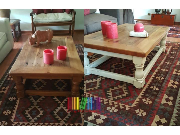 mesa centro antes y después