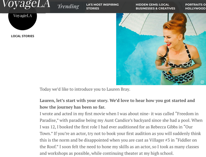 Interview for Voyage LA Magazine