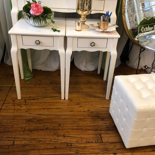 white endtables with drawers RENTAL