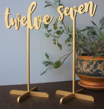 Tall Table Numbers-gold