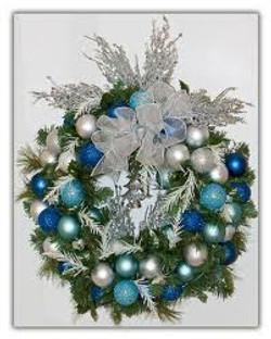 blue white wreath