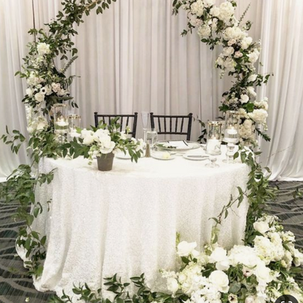gold hoop arch white flowers RENTAL