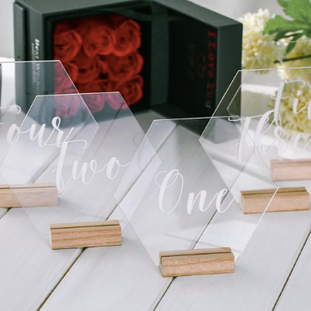 Clear Hex Shape Table Numbers Rental