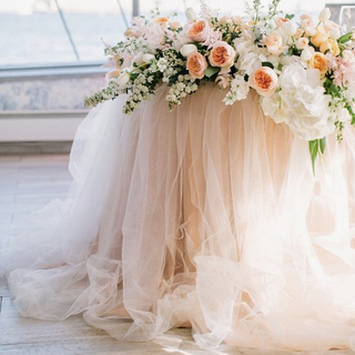 Tuille Table Skirt Sweetheart Table Garland