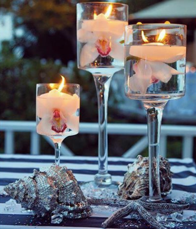 Floating Candles Candlelight Centerpieces